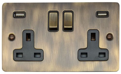 G&H FAB3910 Flat Plate Antique Bronze 2 Gang Double 13A Switched Plug Socket 2.1A USB